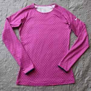 Nike M Shirt Pink Polka Dot Pro Long Sleeve Active